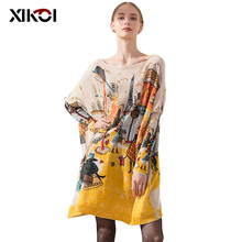XIKOI Women New Knitted Oversized Sweaters Dress Novel Elegant Ladies Print Winter Warm Long Pullovers Loose Clothing Pull Femme