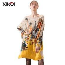 XIKOI Đại Nữ Dệt Kim Quá Khổ Áo LEN ĐẦM Tiểu Thuyết Nữ In Hình Mùa Đông Dài Ấm Áp Áo Thun Rời Quần Áo Kéo Femme