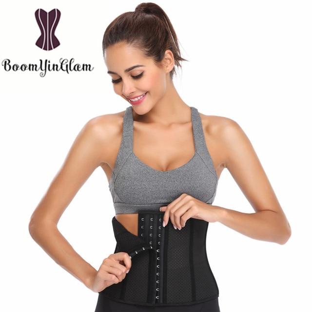 d0f11c449 946 height 24cm breathable 9 steel boned latex waist trainer Underbust Waist  Trimmer Corset Slimming Belt Shaper Corselet