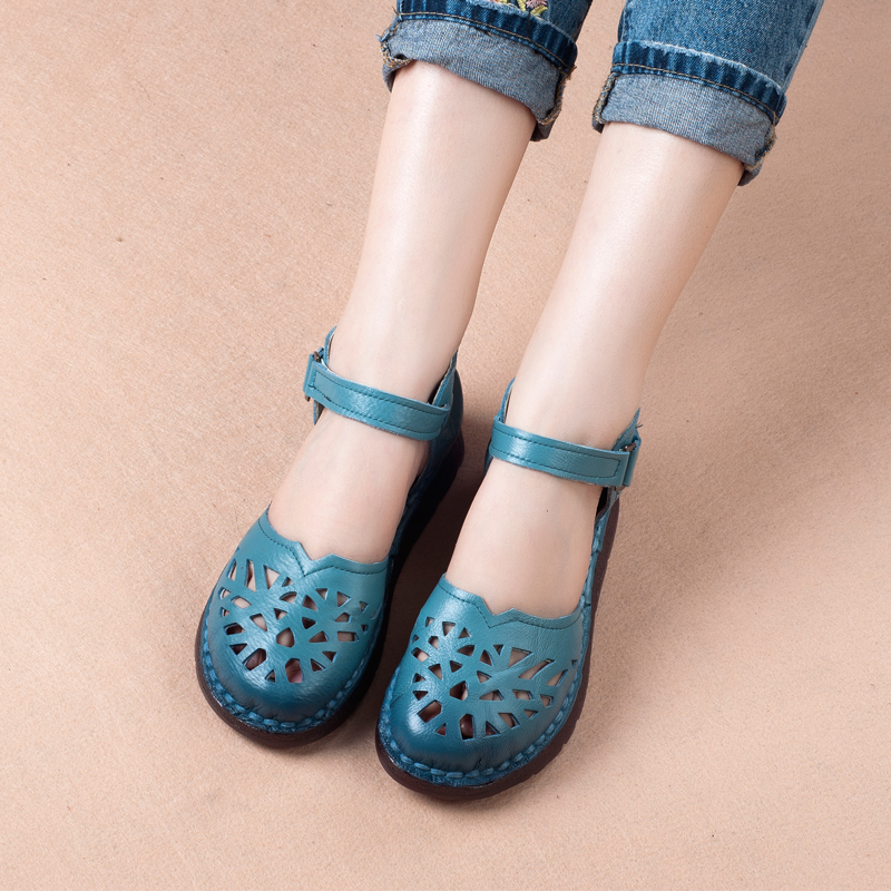 Abedake brand woman sandals 2018 summer breathable handmake leather hole female shoes non-slip leather flat female sandals