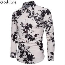 GODLIKE Naujas vyrų marškinėliai su ilgomis rankovėmis, užsienio prekyba, didžioji mada atsitiktinis atspausdintas marškinėliai, verslo asmenybės vasaros marškiniai.