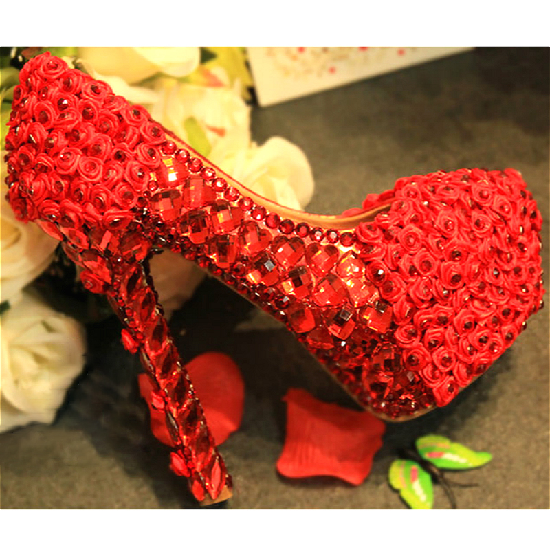 Women Wedding Shoes Crystal Rose Flower Pumps Bridal Slip On Party Red White Super High Heel Round Toe Shoes Sexy Ladies shoe sequined high heel stilettos wedding bridal pumps shoes womens pointed toe 12cm high heel slip on sequins wedding shoes pumps