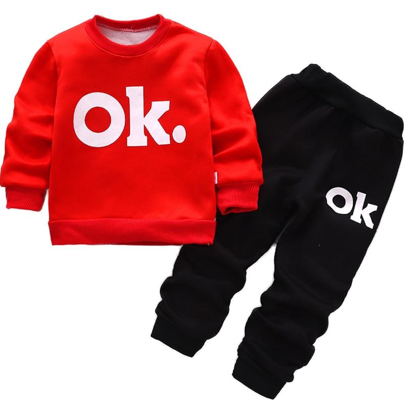 2017 ילדים בנים בגדים בחר חליפה חליפות ספורט בנים תינוק תינוק פעוט פעוט להגדיר בגדים חורף roup bebe ילדים אותיות בגדים