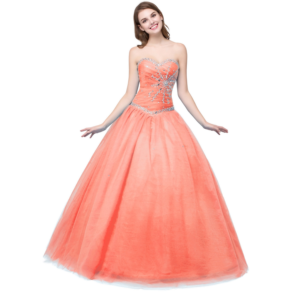 321146d8a2ca 100% Real Images Princess Quinceanera Dresses Ball Gowns Coral Green Blue Girl  Gowns Crystal Lace up Floor Length Prom Dresses-in Quinceanera Dresses from  ...