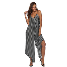 2018 rompers women evening jumpsuit Christmas strap Sexy loose long pants sleeveless striped casual Bodysuits Playsuits