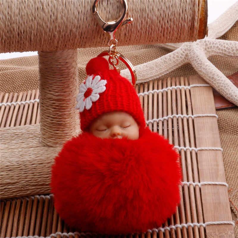 Спящая Детская кукла брелок помпон из кроличьего меха брелок пушистый автомобильный брелок брелки porte брелок для сумки кольцо для ключей брелок для ключей S3