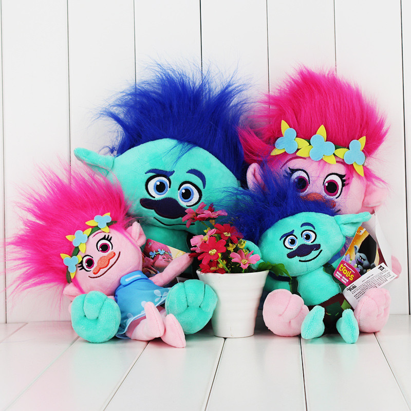 25CM New Plush Toys The Good Luck Trolls Dream Magic Fairy Hair Wizard Branch Poppy Magic elf Stuffed Cartoon Doll Kids Gifts