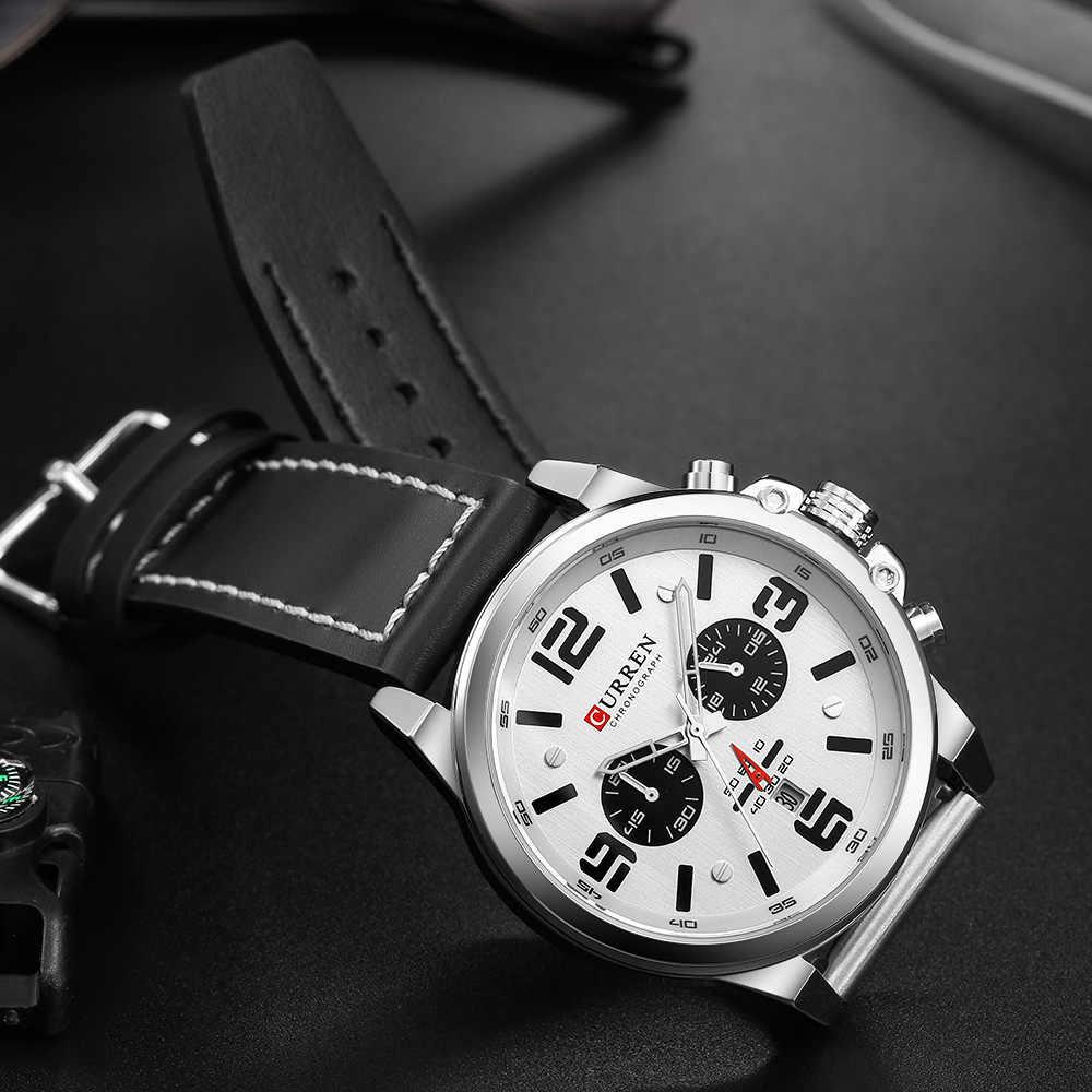 CURREN 8314 Mens שעונים למעלה מותג יוקרה הכרונוגרף אופנה זכר שעון אמיתי עור עמיד למים ספורט צבאי שעוני יד