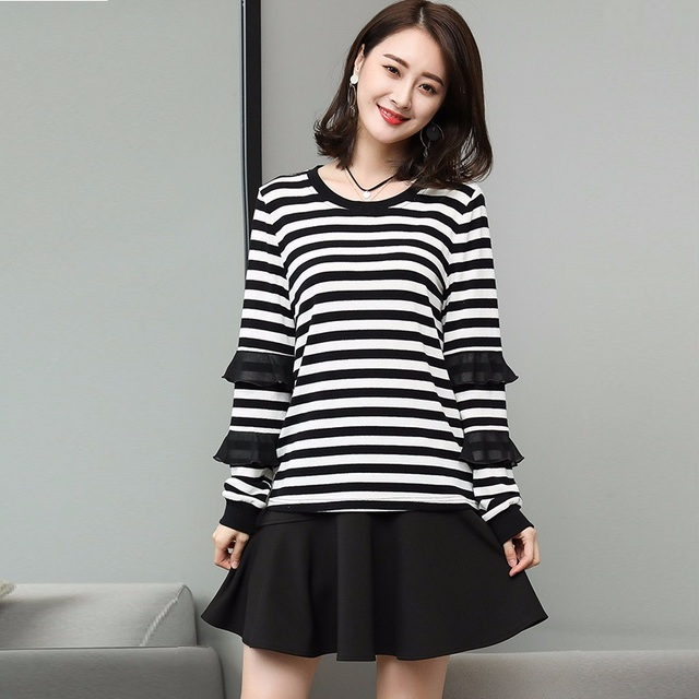 New 2018 Spring juniors Big Size casual cute stripe t shirts ruffled  sleeves tops plus size da8275787753