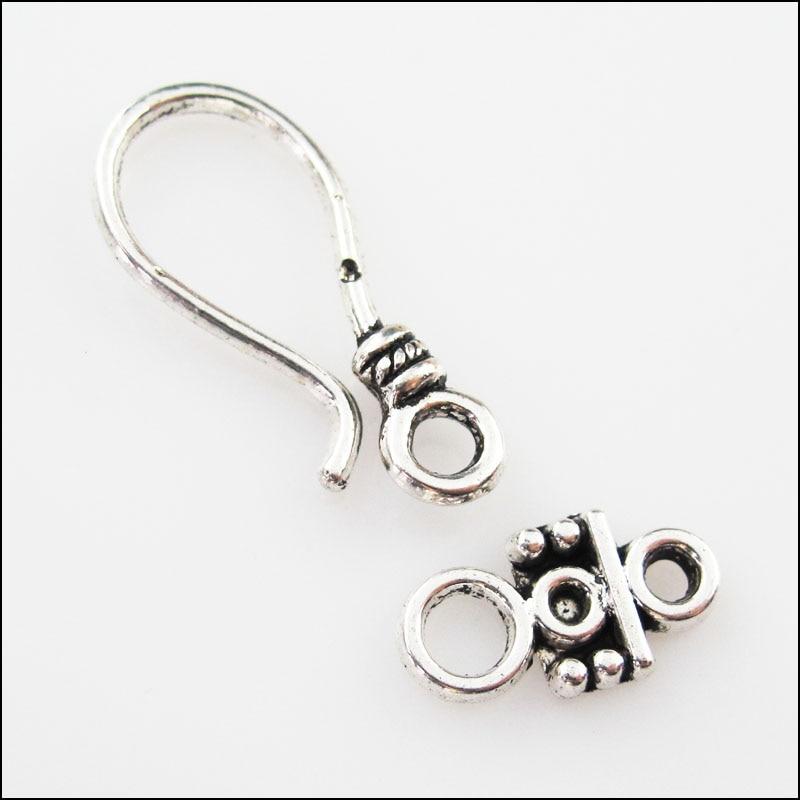 4Sets Tibetan Silver Heart Square Circle Bracelet Toggle Clasps Connectors
