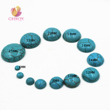 Natural Stone Cabochon Beads Blue Turquoises Cabochon Beads fo Jewelry Making 4/6/8/10/12/14/16/18/20/25/30mm(China)