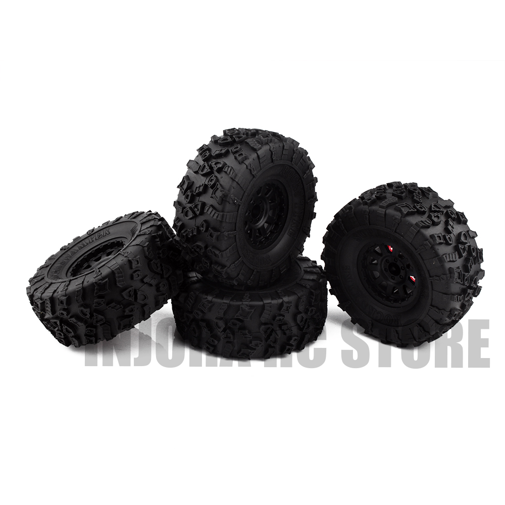 4PCS 1/10 RC Car Rubber Tires & 2.2 Plastic BEADLOCK Wheel Rim for Axial SCX10 Wraith RR10 Yeti RC Rock Crawler 2pcs 2 2 metal wheel hubs for 1 10 scale rc crawler car nv widen version outer beadlock wheels diameter 64 5mm width 43 5mm
