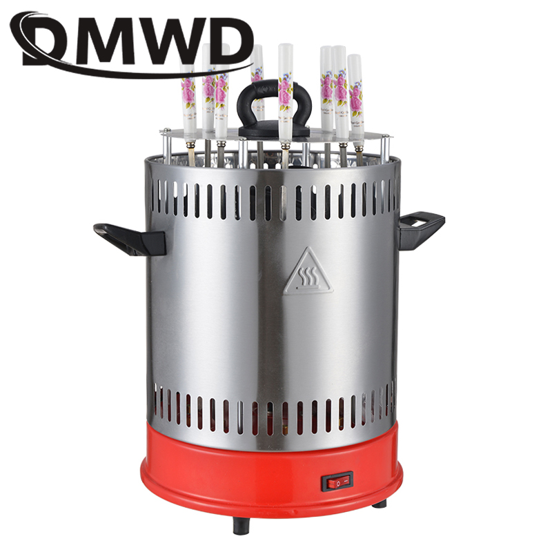 DMWD Electric grill oven barbeque machine skewer kebab BBQ Smokeless indoor outdoor automatic rotating Heating Stove timer EU US kouwo outdoor korean barbecue grill electric rotating bbq grill kw kf05