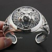 Огромный тяжелый Lion Knight King Cross 925 серебро мужские браслет 9A003