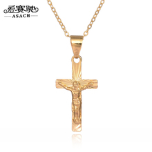 ASACH Hot Couples Necklace Plated Alloy Cross Pendant Necklace Long Necklaces For Women Men Punk Jesus Sweater chain ras de cou