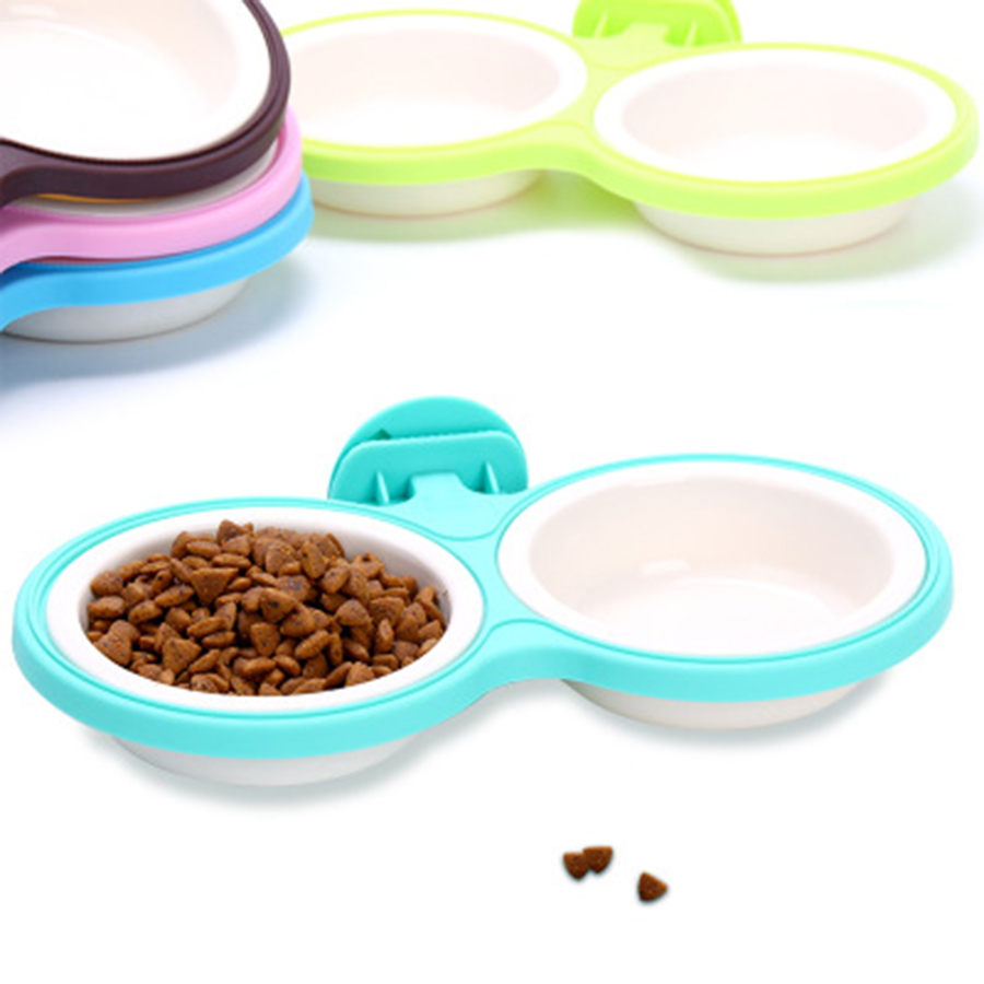 Free Shipping Dog Bowls for Food Cat Food Bowl Food Container Double Bowl Cute Pet Food Placemat Bowl Producto Para Viaje50GP002 in Dog Feeding from Home Garden