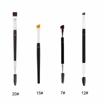 Professional Dual Sided Duo Brow Brush eyebrow stencil Eyebrow Enhancer Angled Eyebrow Brush + Comb Beauty Makeup Tool 1PCS