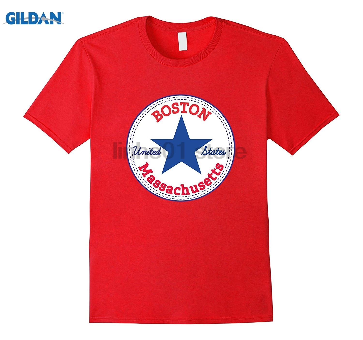 GILDAN BOSTON - MASSACHUSETTS United States USA relaxed fit T-Shirt Hot Womens T-shirt