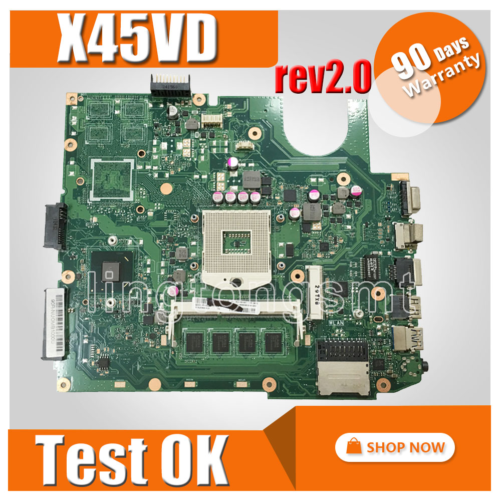 X45VD motherboard For ASUS X45VD laptop motherboard X45VD x45c mainboard Integrated rev2.0 X45VD motherboard test 100% ok x45vd motherboard for asus x45vd 2g i3 x45v laptop mainboard tested well