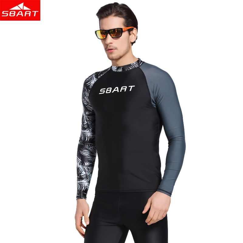 SBART Rashguard الرجال أعلى 2018 ملابس السباحة قصيرة الأكمام سترة UPF 50 + رجل طفح الحرس السباحة قمصان قمم ليكرا تصفح ملابس السباحة