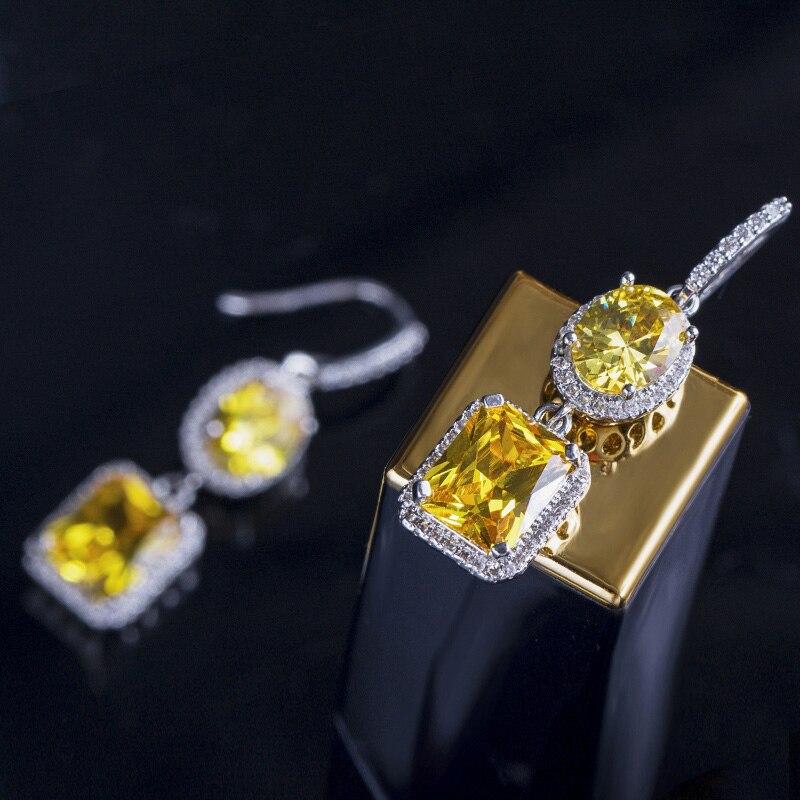 Yellow Crystal Drop Earrings 7
