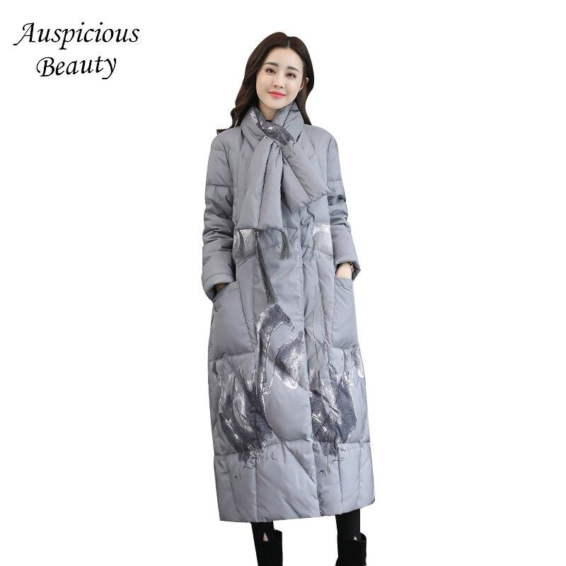 Women Winter Fashion Printing Down Jacket Fashion Womens Duck Down Thicken Warm Outerwear Female Winter Down Coat CX290