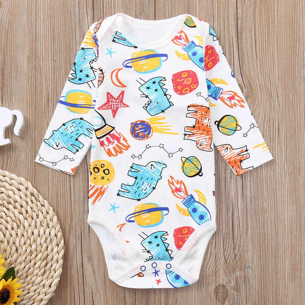 2018 Toddler Infant Baby Boy Girl Long Sleeves Cartoon Print Romper Jumpsuit Clothes Cute Novelty Outfits