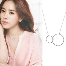 Interlock Clavicle Short Double Circle Pendant Necklace Jewelry