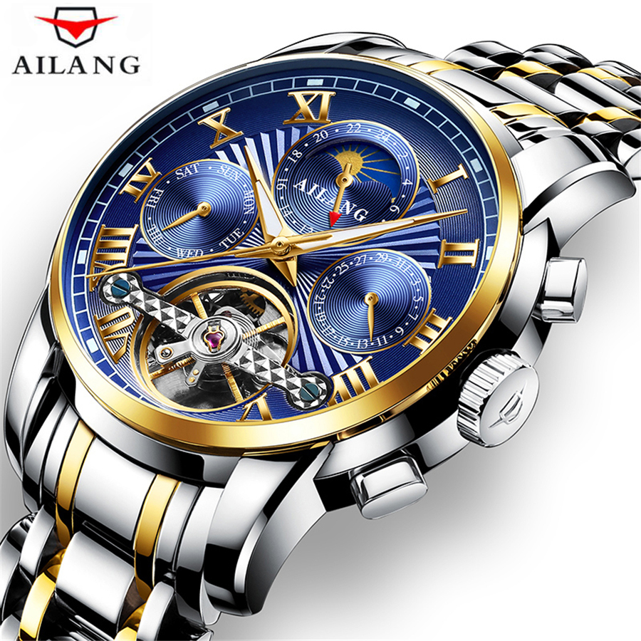 Relogio Masculino Mens Watch Top Brand Luxury Tourbillon Automatic Mechanical Watches Men Moon Phase Skeleton Male Clock 2018 forsining mens watches top brand luxury 2018 tourbillon clock men automatic watch skeleton military watch mechanical relogio