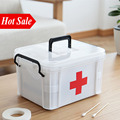 White Plastic Home First Aid Kit Medical Box 2 Layers Portable Camping Survival Emergency Kits Treatment Medication Storage Box