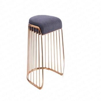 Simple modern golden wrought iron dining chair lounge chair restaurant cafe bar stool