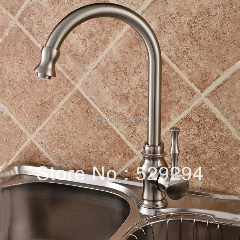 Kitchen Faucet,Nickel Finished Sink Mixer Bar Water Tap.360 Degree Roating  Long Neck