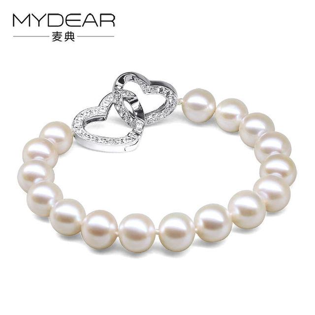 MYDEAR Fine Jewelry Freshwater Pearl Bracelets,2016 The Newest Charm 9-10mm Pearls Beads Strand Bracelets,Wedding Jewelry