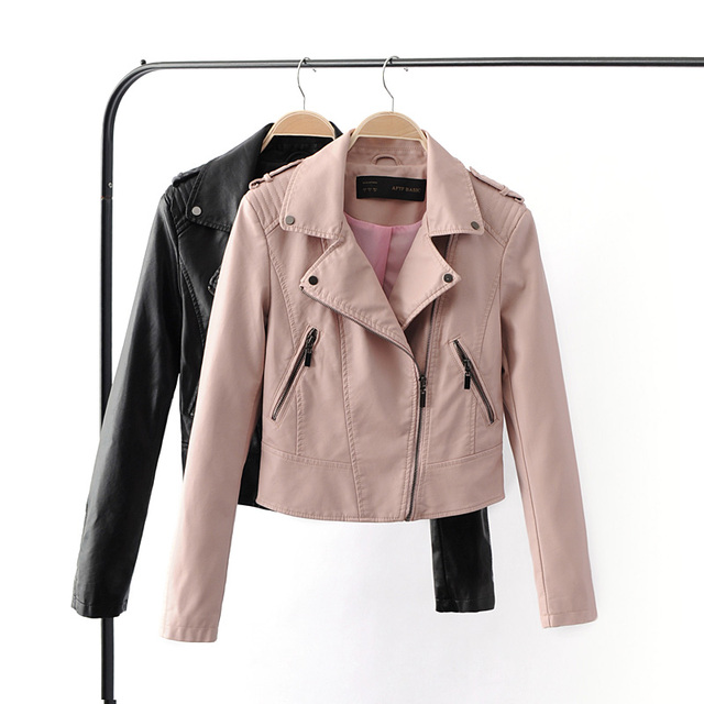 2017 New Fashion Women Motorcycle Faux Soft Leather Jacket 4CLRS