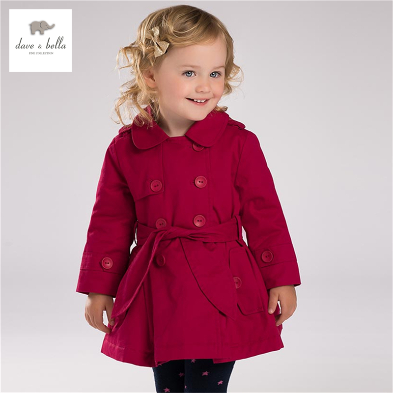 DB3717 davebella autumn fall baby girls rose trench with big bow girls stylish coat outerwear