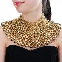 4 Kolory Chunky Komunikat Naszyjnik Dla Kobiet Neckcklace Maxi Bib Collar Choker Naszyjnik Z Pereł Biżuteria