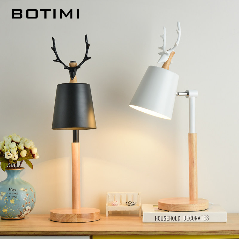 BOTIMI Nordic LED Table Lamp With Metal Lampshade For Bedroom White Bedside Desk lights Black Reading Lamps Wooden Luminaria botimi nordic led table lamp with metal lampshade for bedroom white bedside desk lights black reading lamps wooden luminaria