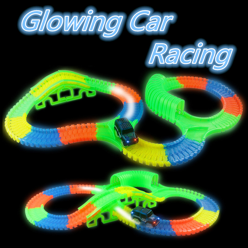New Miraculous Glowing car racing bend flex Track Glow in dark font b toys b font