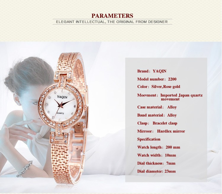 Nova moda senhoras cristal strass pulseira relógio