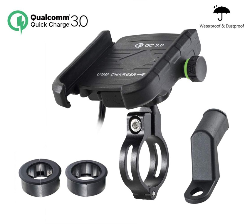Aileap Universal Motorcycle Phone Mount Aluminum Bike Phone Holder Integrated With QC 3.0 Super Quick Charge USB Power Socket
