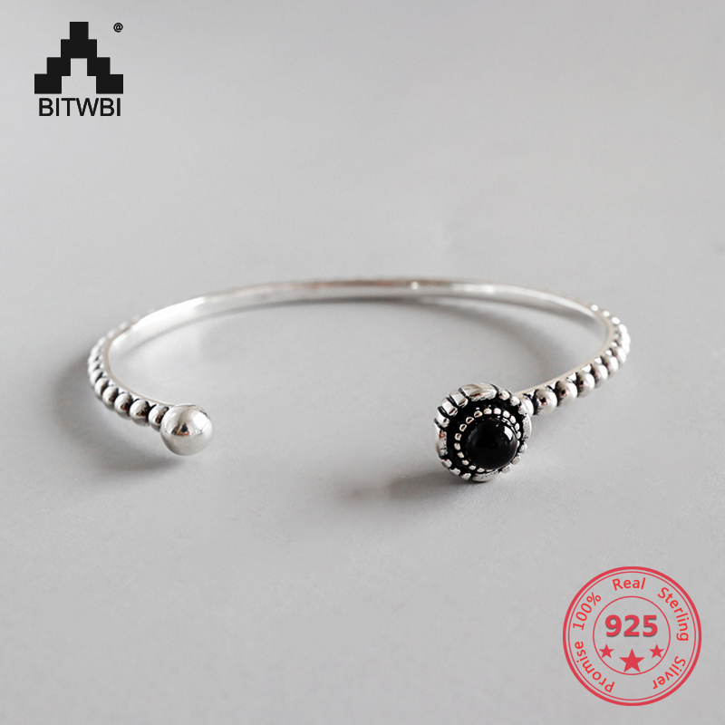 Fashion Round Black Agate Bracelet 100% 925 Silver Bracelet for Girls Women Party Charm JewelryFashion Round Black Agate Bracelet 100% 925 Silver Bracelet for Girls Women Party Charm Jewelry