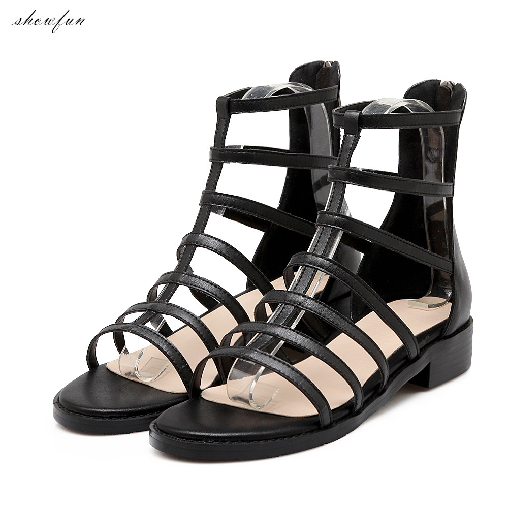 Women's Genuine Leather T-strap Gladiator Ankle Boots Brand Designer Open Toe Summer Flats Punk Short Booties Shoes for Women yanicuding round toe women flock ankle booties metal short boots zip design luxury brand fashion runway star autumn shoes flats