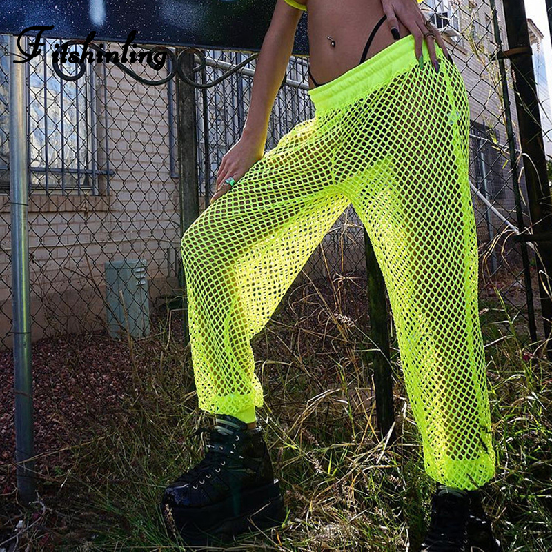 Fitshinling Green Trousers Harem-Pants Mesh Women Clothes Jogger Female Loose Neon Sexy