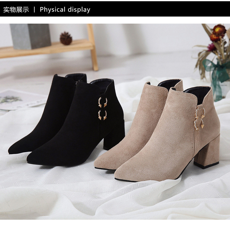 2019 Spring Autumn Women Boots New Fashion Casual Ladies Flock Short Boots Female Middle Heeled Boots M8D261 (6)