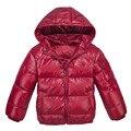 Único inverno dos miúdos jaqueta de algodão do bebê meninos e meninas para baixo roupas casaco infantil com capuz sólida Down & Parkas 100-150 cm