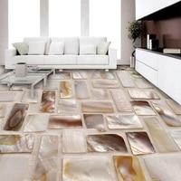 Custom 3D Mural Wallpaper Colorful Shell Art Creative Floor Tiles Mosaic Sticker Living Room Bathroom Wear