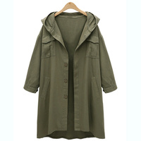 Plus Size Army Green Jacket Coat Women Casual Long Sleeve Button 2019 Winter Hooded Jacket Fashion Large Size Coat 4XL Overcoat