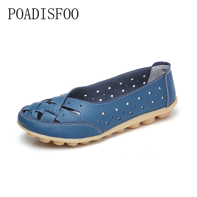 Genuine leather 2018 Women Hollow Out Casual shoes Flats for women Drive Nurse Sping autumn shoes soft soles for women .CQY-1165 graceful rhinestoned hollow out hairband for women