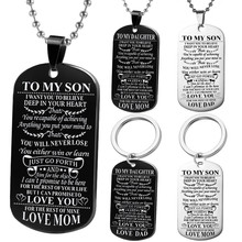 Customed Necklaces Dog Tags Dad\mom To Son\daugthter Pendant Personalized Necklace Metal military Dog tag Engraving Steel Gift(China)