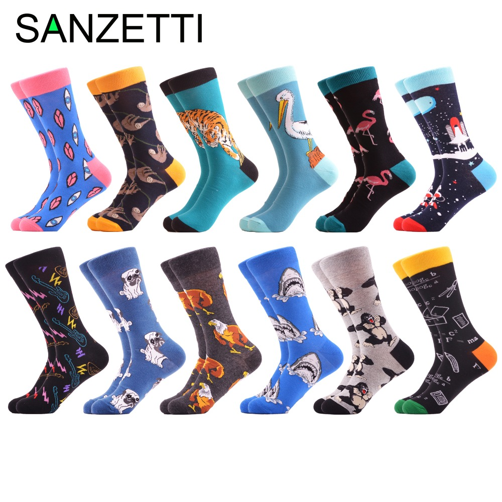 Men's Socks Sanzetti 12 Pairs/lot Funny Combed Cotton Brand Mens Crew Socks Novelty Dog Shark Pattern Colorful Dress Causal Wedding Socks Year-End Bargain Sale